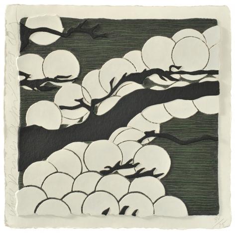 Donald Sultan  White Pines, 2009  mixografia print on handmade paper  17 1/4 x 17 1/4 inches  edition of 75  Publisher: Mixografía  $3,000