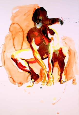 Eric Fischl  Crouching Woman, 2012  pigment print on paper  paper: 20 x 13 1/2 inches  frame: 24 1/16 x 17 9/16 inches  Edition of 25  $4,000