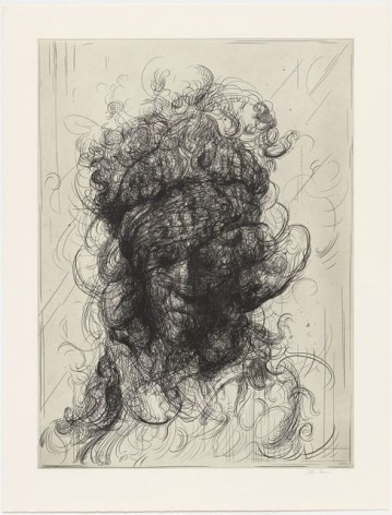 Glenn Brown Half-Life #2 (after Rembrandt), 2017 a series of 6 etchings on paper paper dimensions: 35 x 26 3/4 inches framed dimensions: 40 1/4 x 32 inches Edition 14 of 35 signed by the artist and numbered on the reverse (GB-3)