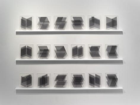 Elaine Reichek Parallelograms, 1977 organdy and thread, sandwiched between Plexiglas 18 units, each 13 x 14 inches