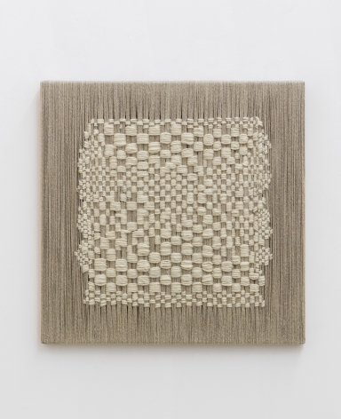 Sheila Hicks Trying to be warp & wept, 2020 linen and wool on wood and aluminum 23 5/8 x 23 5/8 inches
