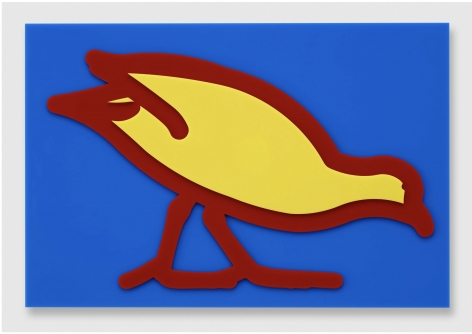 Julian Opie Small birds: Swamp hen., 2020 wall mounted acrylic relief 14.41 x 21.54 x 1.57 inches (36.6 x 54.7 x 4 centimeters) Edition of 20
