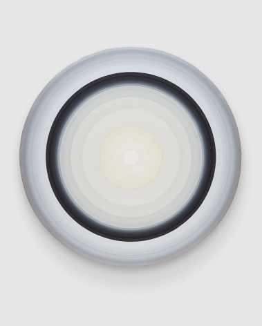 Gary Lang WHITECIRCLE1, 2019 acrylic on canvas 54 inches in diameter