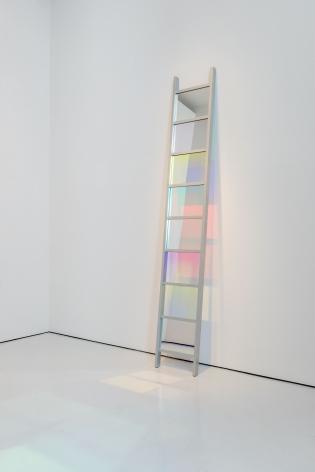 Stephen Dean  Ladder, 2005  Dichroic glass and aluminum  108 x 16 x 2 inches  Inquire