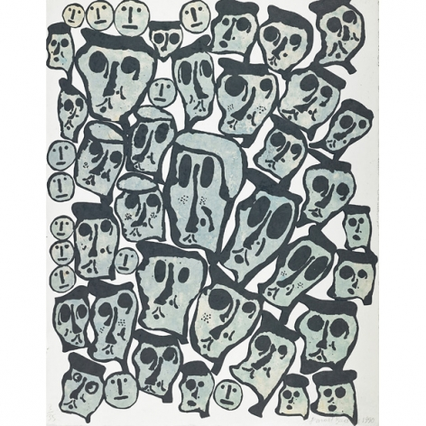 Donald Baechler Untitled #2 (From the Crowds Portfolio), 1990 woodcut on handmade Nepali paper (hand-dyed with indigo) 43 x 34 inches 3 AP, Edition 3 of 35 bottom right front (DB-87)