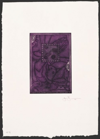 Jasper Johns  Untitled, 1995  mezzotint in 2 colors with chine colle on Gampi laid down on custom made HMP paper  frame: 36 x 30 inches  image: 26 x 91 inches  Edition of 37  $7,500