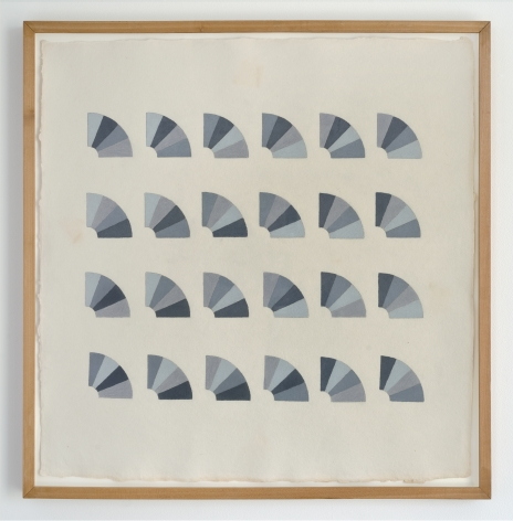 Elaine Reichek Fan Factorial Drawing 2, 1977 colored pencil on handmade paper paper: 20 1/4 x  19 3/4 inches frame: 22 x 21 1/2 inches $16,000