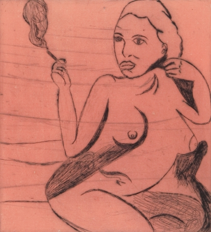 Tal R  Girl Smoking (#10 from series of 12), 2014  line etching on somerset 400 gr.  image: 7 3/4 x 7 1/8 inches  paper: 17 1/8 x 14 1/2 inches  frame: 18 3/4 x 16 1/2 inches  6, Edition of 24  $950