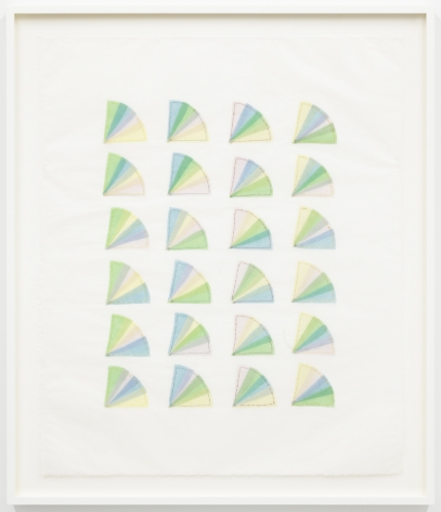 Elaine Reichek Fan Factorial #5, 1977 organdy sewn to Kozoshi paper paper: 31 x 26 1/2 inches frame: 31 3/4 x 27 1/8 inches $16,000
