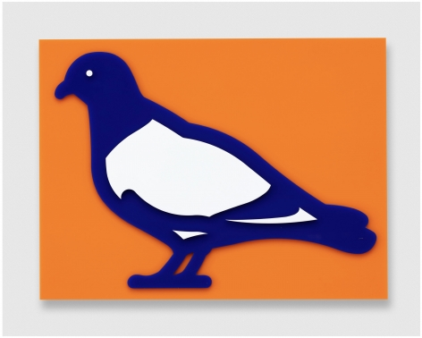 Julian Opie Small birds: Pigeon., 2020 wall mounted acrylic relief 12.6 x 16.73 x 1.57 inches Edition of 20