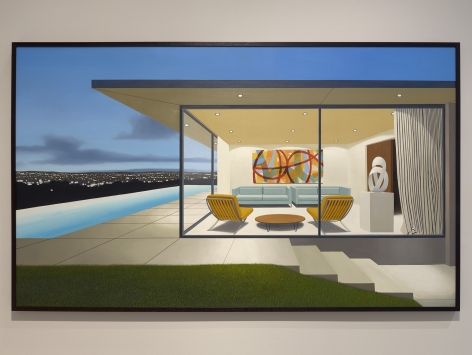 Tom McKInley  Kidd House, 2019  oil on panel  45 x 75 inches