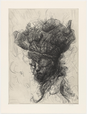 Glenn Brown Half-Life #6 (after Rembrandt) from a series of 6 etchings, 2017 etching on paper paper dimensions: 35 x 26 3/4 inches framed dimensions: 40 1/4 x 32 inches Edition 14 of 35 signed by the artist and numbered on the reverse (GB-7)