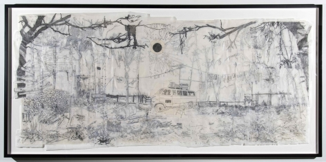 Kent Dorn Untitled (Nest), 2012 graphite, tape, and tracing paper on newsprint 42 X 72 inches