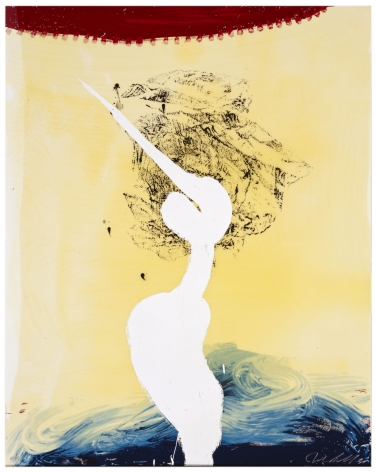 "Julian Schnabel  View of Dawn in the Tropics - Bandini ""his foe  pursued"", 1998  hand-painted 17-color screenprint with poured  resin  45 x 36 in. (114.3 x 91.4 cm)  edition of 90  Publisher: Lococo Fine Art Publisher  $6,500"