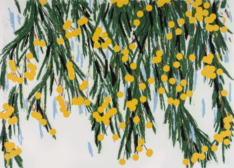 Donald Sultan  Yellow Mimosas, July 23, 2015, 2015  15-color silkscreen with flocking on 4-ply museum board  32 x 45 inches  edition of 50