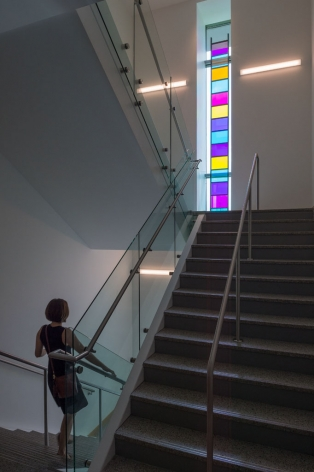 Stephen Dean  Ladder descending a staircase, 2014  aluminum and dichroic glass  336 x 16 x 2 inches   Photo by Nash Baker    Rice University, Houston, Texas