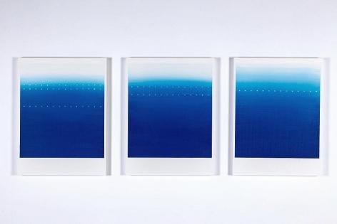 Katsumi Hayakawa 1・2・3 (Blue No. 1 - 3), 2017 acrylic on paper and wood panel 23 3/4 x 17 3/4 each