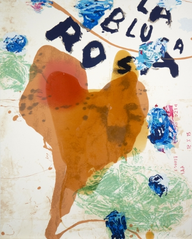 Julian Schnabel  Sexual Spring-Like Winter - La Blusa Rosa, I, 1995  hand painted, 18 color silkscreen with poured resin  40 x 32 inches  edition of 80  Publisher: Lococo FIne Art Publisher  $12,000  Inquire