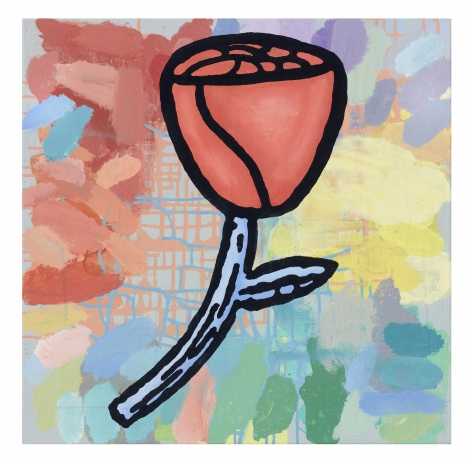 Donald Baechler Remedy of Anything, 2021 acrylic and fabric collage on canvas 24 x 24 inches