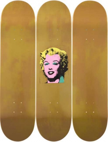 Andy Warhol  Gold Marilyn, Triptych (Skateboard Decks), 2016  maple wood from sustainable Canadian forests, 7-ply  31 1/2 x 7 7/8 x 1/4 inches  edition of 100  $3,000