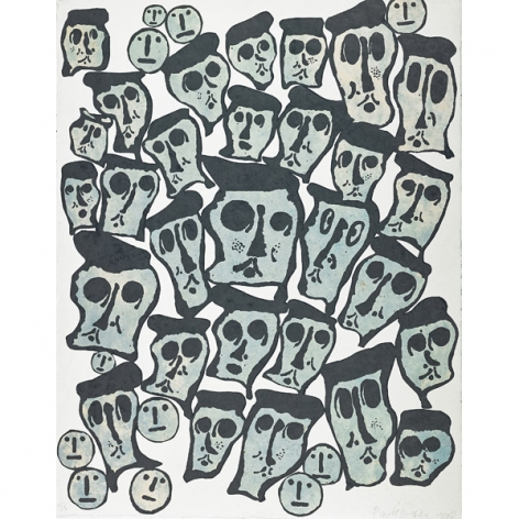 Donald Baechler Untitled #5 (From the Crowds Portfolio), 1990   woodcut on handmade Nepali paper (hand-dyed with indigo) 43 x 34 inches Edition of 35 with 3 AP bottom right front  Publisher: Baron/Boisanté Editions, New York