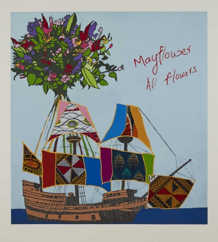 Yinka Shonibare  Mayflower All Flowers, 2020  relief print with woodblock and fabric collage on Somerset Tub Sized Satin 410gsm paper  paper: 43 7/8 x 40 1/2 inches  image: 38 1/8 x 35 1/4 inches  Edition of 50  signed and numbered recto, in pencil