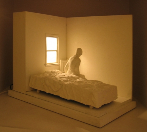 George Segal  Woman Sitting on Bed, 1996  copper, bronze, wood, plexi, electric light (white patina)  21 x 16 x 25 1/2 inches  edition of 30  $35,000
