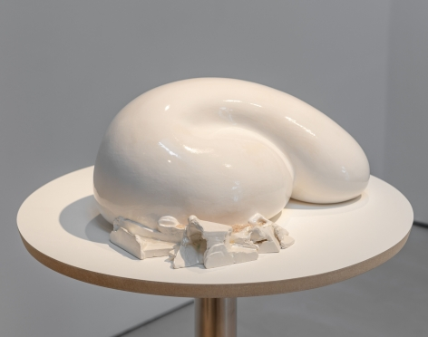 Sharon Engelstein,  Sleeper, 2016,  glazed ceramic and candy crystals,  7 x 12 x 16 1/2 inches