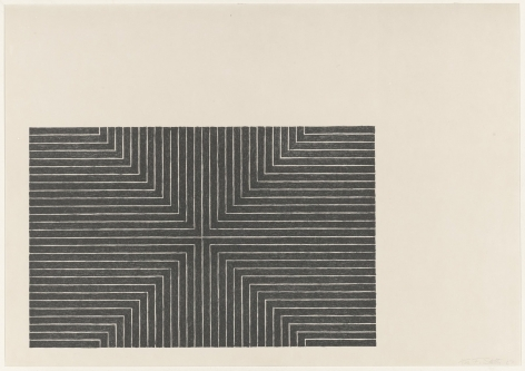 Frank Stella  Black Series I (Suite of 4; shown: Arbeit Macht Frei), 1967  set of 4 1-color lithograph  each 15 x 22 inches  edition of 100  $20,000