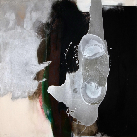 Cleve Gray,  Silver Diver, 1967,  acrylic on canvas with aluminum paint,  82 x 80 inches