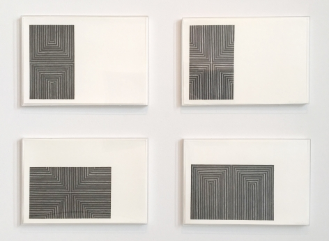 Frank Stella  Black Series I (Suite of 4): Arundel Castle; Die, Fahne Hoch!; Marriage of Reason and Squalor; Arbeit Macht Frei, 1967  1-color lithograph  each 15 x 22 inches  edition of 100