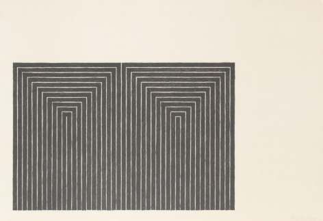 Frank Stella  Black Series I (Suite of 4; shown: Marriage of Reason and Squalor), 1967  set of 4 1-color lithograph  each 15 x 22 inches  edition of 100  $20,000