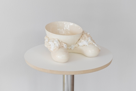 Sharon Engelstein,  Resting Bowl, 2018,  glazed ceramic, candy,  5 1/2 x 9 1/2 x 9 inches
