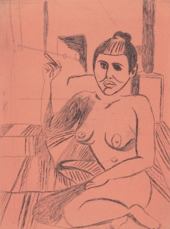 Tal R  Girl Smoking (#3 from series of 12), 2014  line etching on somerset 400 gr.  image: 7 3/4 x 7 1/8 inches  paper: 17 1/8 x 14 1/2 inches  frame: 1 8 3/4 x 16 1/2 inches  6, Edition of 24  $950
