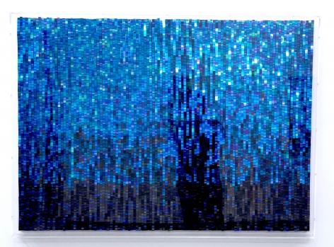 Katsumi Hayakawa  Blue Bits, 2018  paper and mixed media on wood panel  36 x 49 inches
