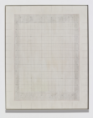Elaine Reichek Untitled, 1972 gesso, thread, graphite, and colored pencil on canvas canvas: 60 x 48 inches frame: 60 5/8 x 48 1/8 inches