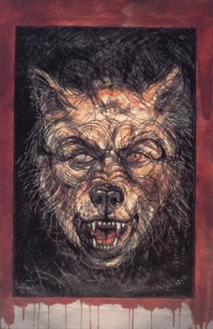 Luis Jiménez  #12 Canine - Self Portrait (Lobo), 1985  hand colored lithograph  52 1/4 x 34 3/4 inches  $30,000