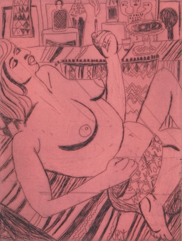 Tal R  Girl Smoking (#12 from series of 12), 2014  line etching on somerset 400 gr.  image: 7 3/4 x 7 1/8 inches  paper: 17 1/8 x 14 1/2 inches  frame: 18 3/4 x 16 1/2 inches  6, Edition of 24  $950