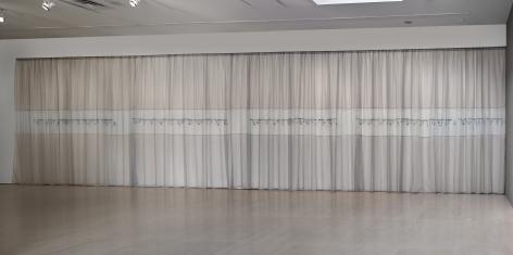 elaine reichek morse message curtain installation