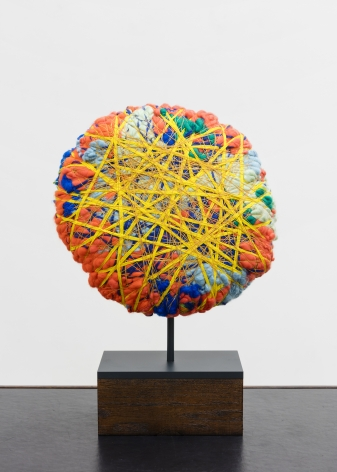 Sheila Hicks  Contained by Yellow, 2020  cotton, linen, pigmented acrylic fiber  13 3/4 inches in diameter