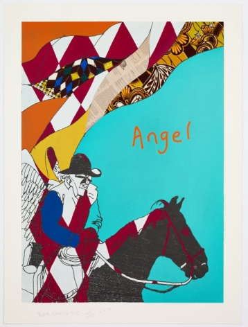 Yinka Shonibare  Cowboy Angel I (From Cowboy Angels Portfolio), 2017  single print, woodcut with fabric collage on Sumerset Tub Sized Satin 410gsm paper  37 1/4 x 27 1/2 inches  from an edition of 20  $8,000