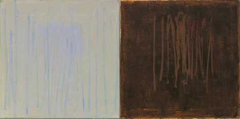 Christopher Le Brun Aside VII , 2020 oil on two canvases 16 x 31 3/4 inches