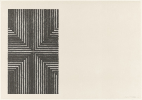 Frank Stella  Black Series I (Suite of 4; shown: Die, Fahne Hoch!), 1967  set of 4 1-color lithograph  each 15 x 22 inches  edition of 100  $20,000