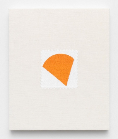 Elaine Reichek , Swatch, Kelly, 2006,  digital embroidery on linen,  12 x 10 inches,  edition of 3