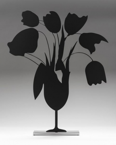 Donald Sultan  Black Tulips and Vase, 2014  painted aluminum on polished aluminum base  24 x 24 x 3 1/2 inches  edition of 25  $13,000