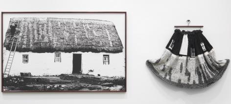Elaine Reichek Whitewash (Galway Cottage), 1992-93 knitted wool yarn, hanger, and gelatin silver print in 2 parts 43 x 133 inches