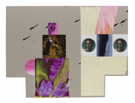 Shane Tolbert  Harmony, 2019  postcards and acrylic on found support  paper dimensions: 24 x 32 inches  framed dimensions: 28 x 35 3/4 inches