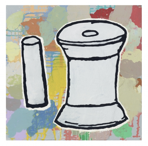 Donald Baechler Spool and Cylinder, 2020 acrylic and fabric collage on canvas 24 x 24 inches