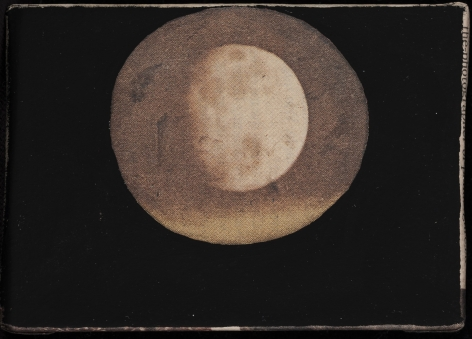 Anne Deleporte  Moon, 2014  newsprint and gesso  3 1/2 x 2 1/2 inches