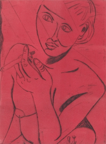 Tal R  Girl Smoking (#11 from series of 12), 2014  line etching on somerset 400 gr.  image: 7 3/4 x 7 1/8 inches  paper: 17 1/8 x 14 1/2 inches  frame: 18 3/4 x 16 1/2 inches  6, Edition of 24  $950